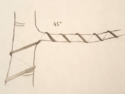 Drut oplata gałąź pod kątem 45 stopni